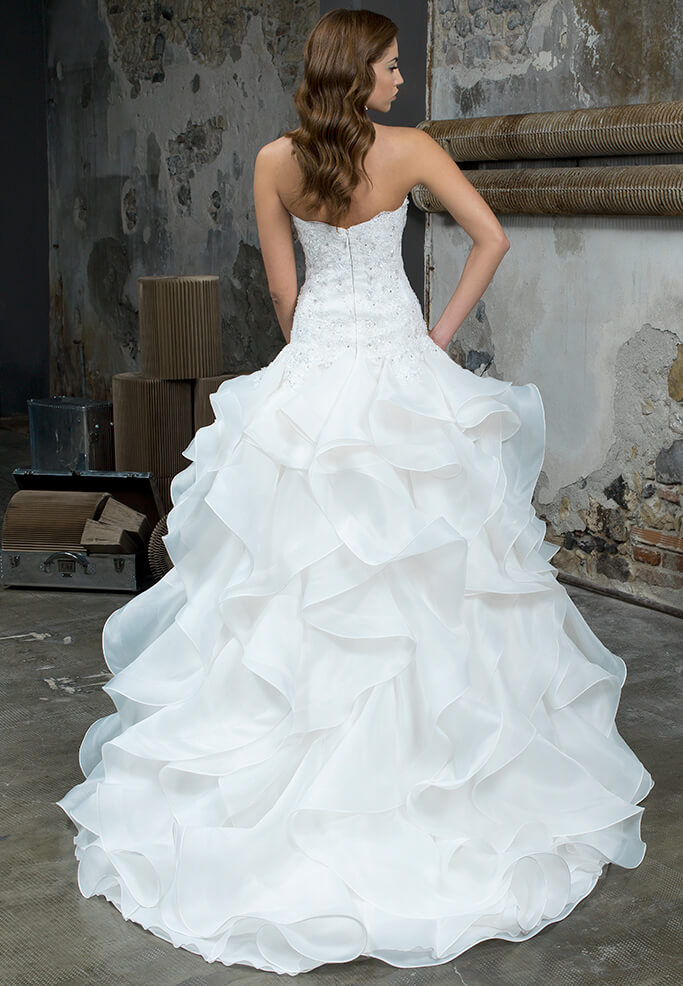 vestito sposa gonna organza romantico