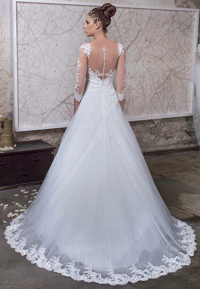 abito sposa in tulle bianco A-Line